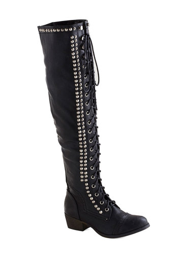 Set in Motion Boot - Low, Faux Leather, Black, Studs, Statement, Better, Solid, Lace Up