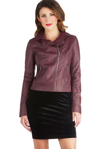 Ultimate Verve Jacket - Red, Solid, Pockets, Long Sleeve, Faux Leather, Short, 2, Urban, Purple
