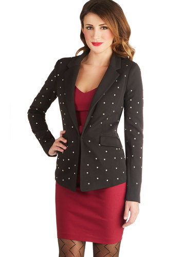 Electric Night Orchestra Blazer - Mid-length, Woven, 1, Black, Pockets, Studs, Long Sleeve, Black, Long Sleeve
