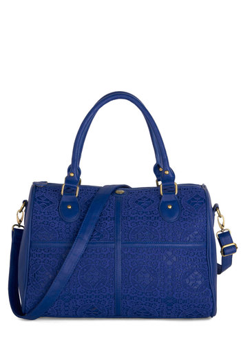 Fantastic Voyager Bag by Darling - Blue, Lace, International Designer, Faux Leather, Best, Travel, Work