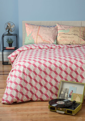 Made to Mesmerize Duvet Cover in Queen - Cotton, Woven, Pink, Urban, Mod, Best, White, Print, Dorm Decor, Exclusives