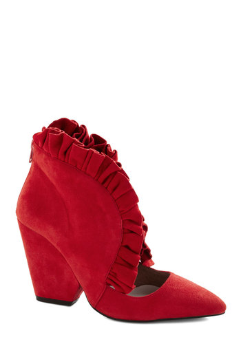 Frill in the Blanks Heel by Jeffrey Campbell - Red, Solid, Ruffles, High, Suede, Best, Chunky heel, Leather, Party