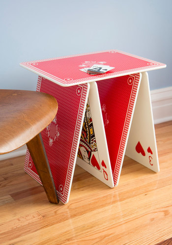 A La Card Accent Table - Red, Dorm Decor, Quirky, Best, White, Multi, Novelty Print, Graduation, Guys