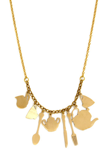 Afternoon Tea Necklace by Monserat De Lucca - Novelty Print, Gold