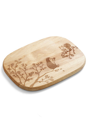 Creature Comfort Foods Cheese Board in Critters - Tan, Tan / Cream, Good, Print with Animals, Variation