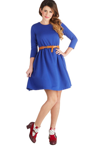 Wardrobe Debate Dress - Woven, Blue, Solid, Casual, A-line, Long Sleeve, Good, Crew, Minimal, Exclusives, Show On Featured Sale, Mid-length