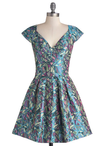 Inspiring Architect Dress - Multi, Print, Party, A-line, Better, Short, Woven, Blue, Pockets, Fit & Flare, Cap Sleeves