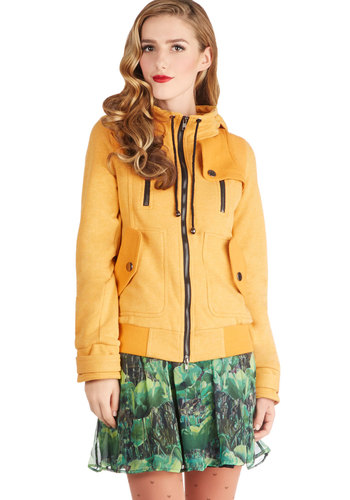 Leipzig Hoodie in Mustard - 2, Yellow, Solid, Buttons, Exposed zipper, Pockets, Casual, Long Sleeve, Mid-length, Travel, Winter, Hoodie, Sweatshirt, Basic, Fall, Exclusives, Knit, Top Rated, Yellow