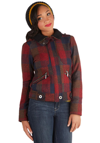 Up and Autumn Jacket - Red, Plaid, Pockets, Casual, Long Sleeve, Short, Woven, 3, Epaulets, Rustic, Fall, 90s, Multi