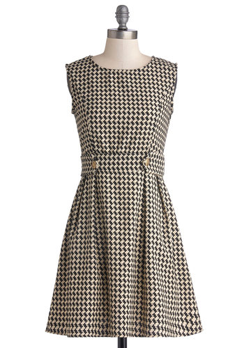 Software It Well Dress - Houndstooth, Buttons, Daytime Party, Vintage Inspired, 60s, A-line, Sleeveless, Good, Woven, Mid-length, Tan / Cream, Black, Scoop