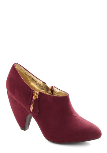 Haute on Your Heels Bootie in Oxblood - Red, Solid, Mid, Minimal, Better, Faux Leather, Variation