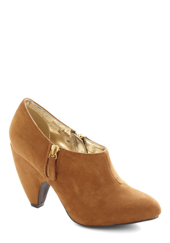 Haute on Your Heels Bootie in Caramel - Tan, Solid, Mid, Minimal, Better, Faux Leather, Variation
