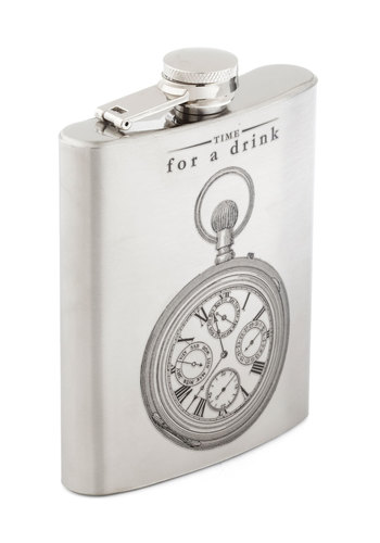 Happy Hour Flask - Quirky, Good, Silver, Steampunk, Minimal