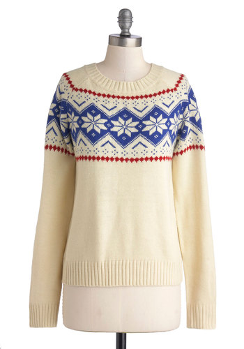Sled the Word Sweater - Mid-length, Knit, Cream, Red, Blue, Novelty Print, Holiday, Long Sleeve, Better, Crew, Casual, Winter