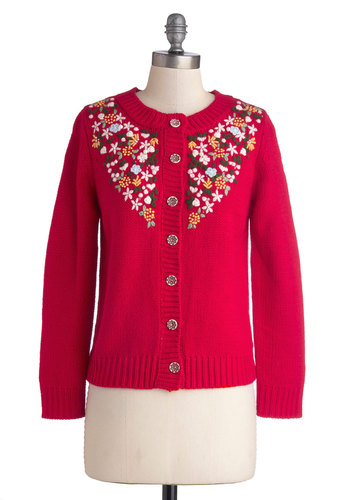 Beckoning Blossoms Cardigan - Knit, Mid-length, Red, Orange, Green, White, Floral, Buttons, Embroidery, Folk Art, Long Sleeve, Better, Crew, Red, Long Sleeve, Holiday