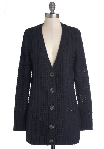 Vanilla Latte Cardigan in Navy - Blue, Solid, Buttons, Knitted, Pockets, Long Sleeve, Knit, V Neck, Winter, Variation, Blue, Long Sleeve