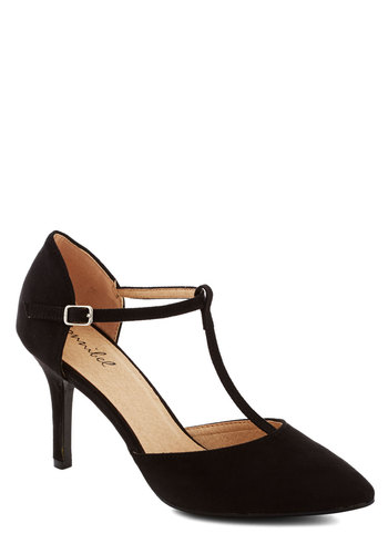 Get It, Got It, Go-See Heel in Black - Mid, Faux Leather, Black, Solid, Good, T-Strap, Party, Cocktail, Girls Night Out, Formal, Wedding, Work, Film Noir, Vintage Inspired, Variation