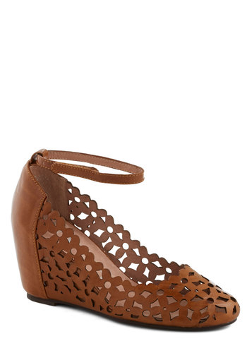 The Conservatory at Twilight Wedge in Brown by Jeffrey Campbell - Tan, Cutout, Work, Daytime Party, Boho, Mid, Best, Wedge, Leather, Vintage Inspired, 70s, Variation
