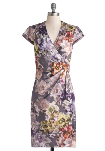 Friends Fleur-ever Dress - Grey, Floral, Cocktail, Sheath / Shift, Cap Sleeves, V Neck, Better, Long, Woven, Multi, Pleats