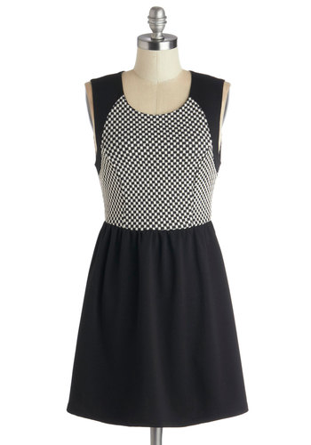 Checkered and True Dress - Short, Knit, Black, White, Checkered / Gingham, Casual, A-line, Sleeveless, Good, Scoop, Exposed zipper