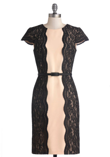 Frequent Theater-goer Dress - Tan / Cream, Lace, Scallops, Belted, Cocktail, Sheath / Shift, Short Sleeves, Better, Mid-length, Black, Knit