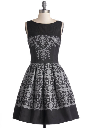 In with the Ornate Dress - Woven, Mid-length, Sheer, Black, Grey, Print, Cutout, Pleats, Cocktail, Fit & Flare, Sleeveless, Better, Pockets, Boat, Holiday Party, Party