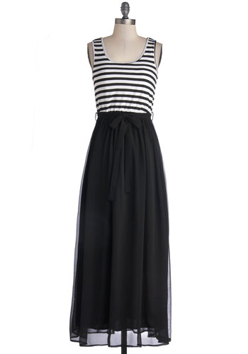 At the Helm Dress in Black - Chiffon, Knit, Woven, Black, White, Stripes, Belted, Casual, Maxi, Tank top (2 thick straps), Good, Scoop, Nautical, Variation