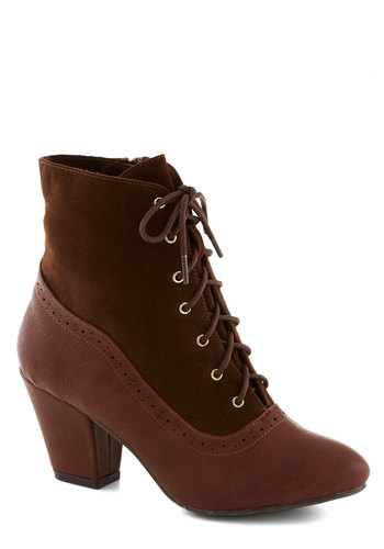 From the Same Cloth Boot in Maple by Bait Footwear - Mid, Faux Leather, Brown, Solid, 20s, 30s, Better, Lace Up, Vintage Inspired, French / Victorian, Steampunk, Variation