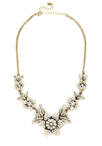 Brilliant Blooms Necklace - White, Solid, Flower, Luxe, Better, Gold, Rhinestones, Formal, Cocktail, 40s