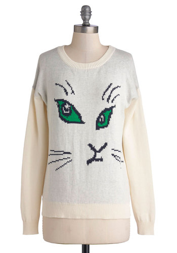 Positive Cat-itude Sweater - Cotton, Knit, Mid-length, Cream, Green, Black, Grey, Print with Animals, Cats, Long Sleeve, Scoop, Casual, Quirky, Halloween, White, Long Sleeve