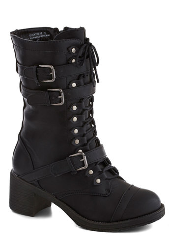 Scenic Thrive Boot in Jet Black - Black, Buckles, Steampunk, Mid, Lace Up, Chunky heel, Faux Leather, Solid, Casual, Military, Variation