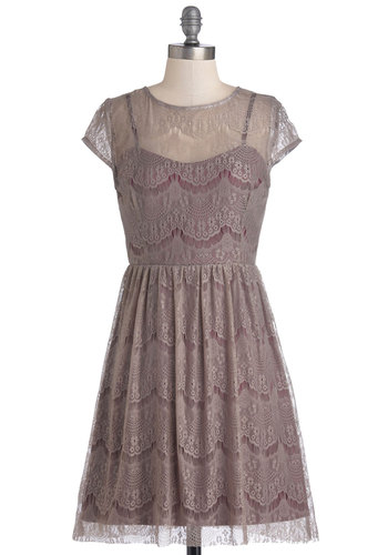 One Amour Evening Dress - Mid-length, Sheer, Knit, Grey, Lace, Party, A-line, Cap Sleeves, Better, Wedding, Bridesmaid, Lace, Purple