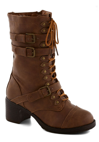 Scenic Thrive Boot in Timber - Buckles, Steampunk, Mid, Faux Leather, Lace Up, Chunky heel, Brown, Solid, Casual, Military, Variation