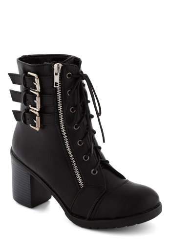 Buckle Downtown Bootie in Black - Black, Buckles, Exposed zipper, Military, Urban, Mid, Lace Up, Chunky heel, Good, Faux Leather, Variation
