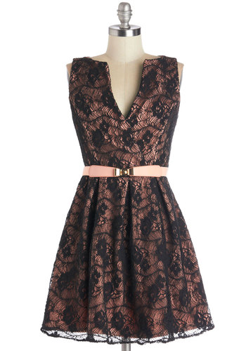 Newfound Fame Dress - Black, Pink, Lace, Belted, Party, A-line, Sleeveless, Better, V Neck, Knit, Short, Valentine's, Lace