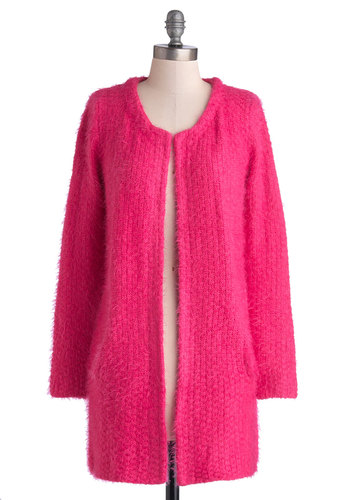 Gifts Your Spirits Cardigan - Knit, Pink, Solid, Pockets, 60s, Long Sleeve, Better, Scoop, Vintage Inspired, Pink, Long Sleeve