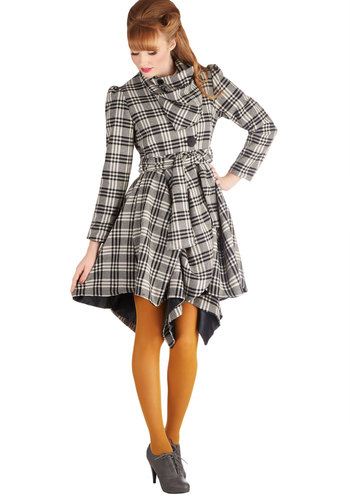 Run the Showroom Coat in Plaid - Woven, Long, 3, Plaid, Buttons, Belted, Steampunk, Long Sleeve, Cowl, Pockets, Winter, Black, Multi