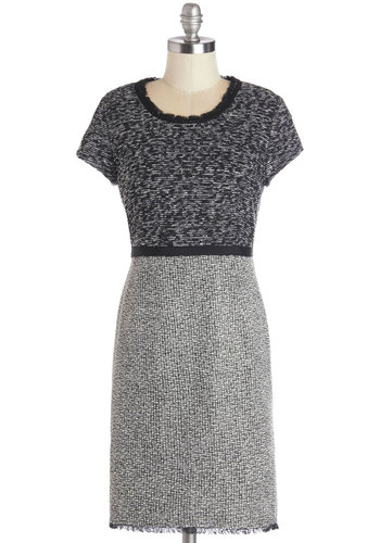 Majority Wit Dress - Grey, Tan / Cream, Black, Work, Minimal, Sheath / Shift, Short Sleeves, Better, Scoop, Mid-length, Woven, Exposed zipper, Winter