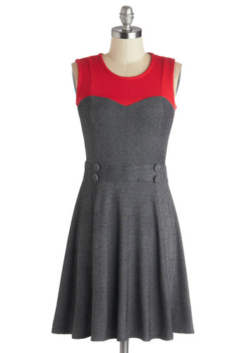 Chic Commute Dress in Grey - Mid-length, Knit, Grey, Red, Buttons, Casual, A-line, Sleeveless, Better, Scoop, Colorblocking, Variation