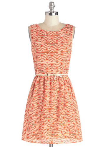 Tri It On Dress - Orange, Print, Belted, Casual, A-line, Sleeveless, Good, Scoop, Mid-length, Chiffon, Woven, Tan / Cream