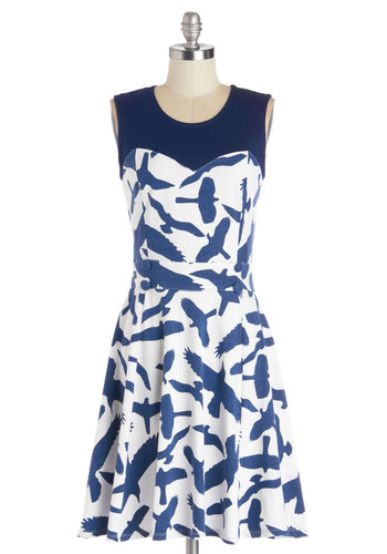 Chic Commute Dress in Birds - Cotton, Knit, Mid-length, Blue, Print with Animals, Casual, A-line, Sleeveless, Better, Scoop, White, Variation