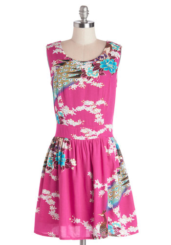 Cute and Holler Dress - Woven, Short, Pink, Multi, Print with Animals, Casual, A-line, Sleeveless, Better, Scoop