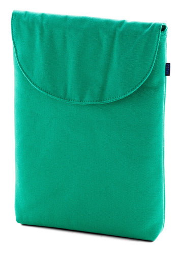 "So Fresh and Serene Laptop Sleeve in Teal - 13"" - Green, Solid, Travel, Variation, Basic, Cotton, Eco-Friendly, Work, Woven"