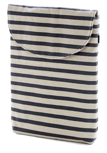 "So Fresh and Serene Laptop Sleeve in Stripes - 13"" by Baggu - Stripes, Nautical, Travel, Variation, Cotton, Blue, Tan / Cream, Work, Eco-Friendly, Woven"