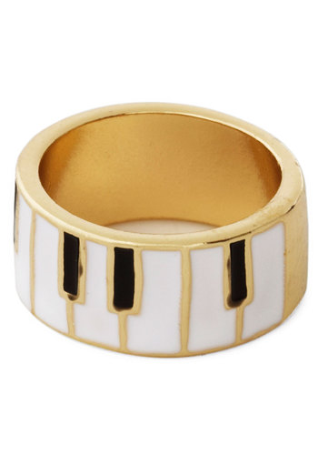 You Hold the Keyboard Ring - Good, Black, White, Novelty Print, Music, Gold, 90s