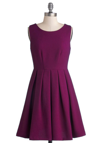 A Vivid Addition Dress - Purple, Solid, Pleats, Minimal, A-line, Sleeveless, Better, Scoop, Woven, Casual, Pockets, Work, Short