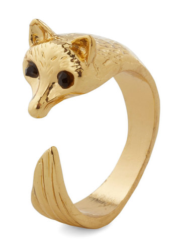 Over and Outfox Ring - Print with Animals, Good, Gold