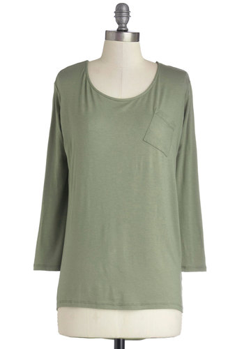 Tacoma Sweet Home Top in Olive - Mid-length, Jersey, Knit, Green, Solid, Pockets, Minimal, Long Sleeve, Better, Scoop, Variation, Basic, Green, Long Sleeve