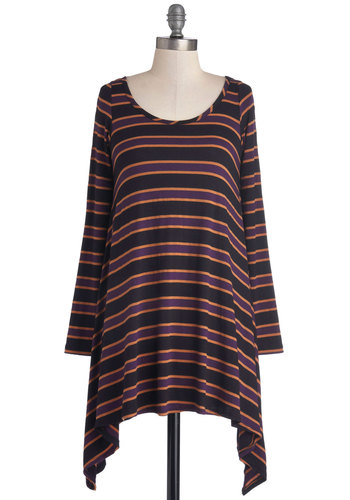 Cinematic Afternoon Tunic - Jersey, Knit, Long, Orange, Black, Stripes, Long Sleeve, Good, Scoop, Multi, Purple, Handkerchief, Casual, Vintage Inspired