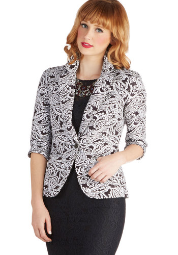 Crafting Conference Blazer - Mid-length, 1, Multi, Paisley, Work, 3/4 Sleeve, Pockets, Multi